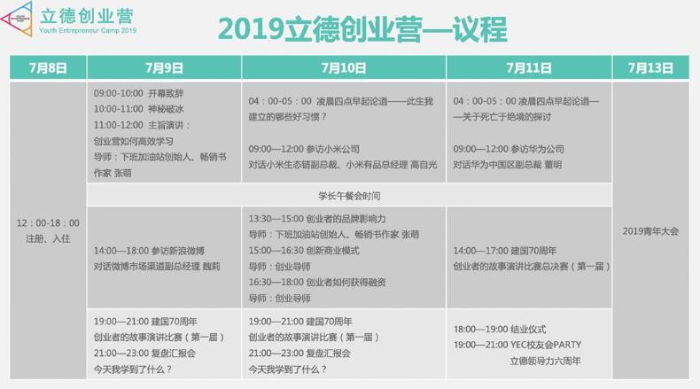 2019立德创业营(Youth Entrepreneur Camp 2019)