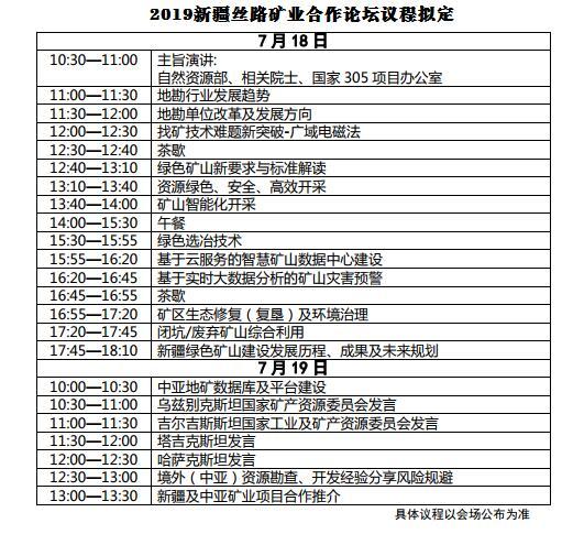 2019新疆丝路矿业合作论坛(乌鲁木齐)