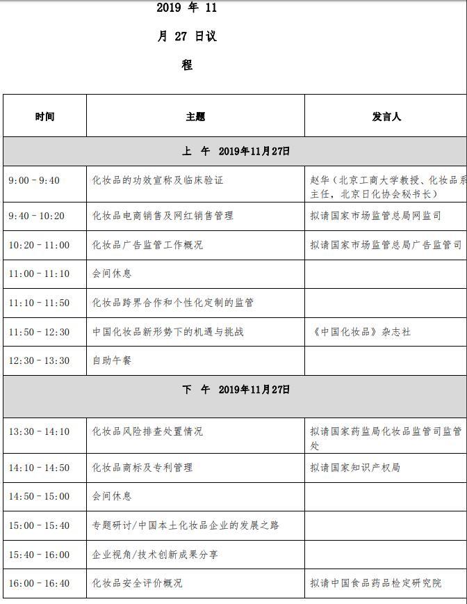 2019 中國國際化妝品法規與技術創新大會