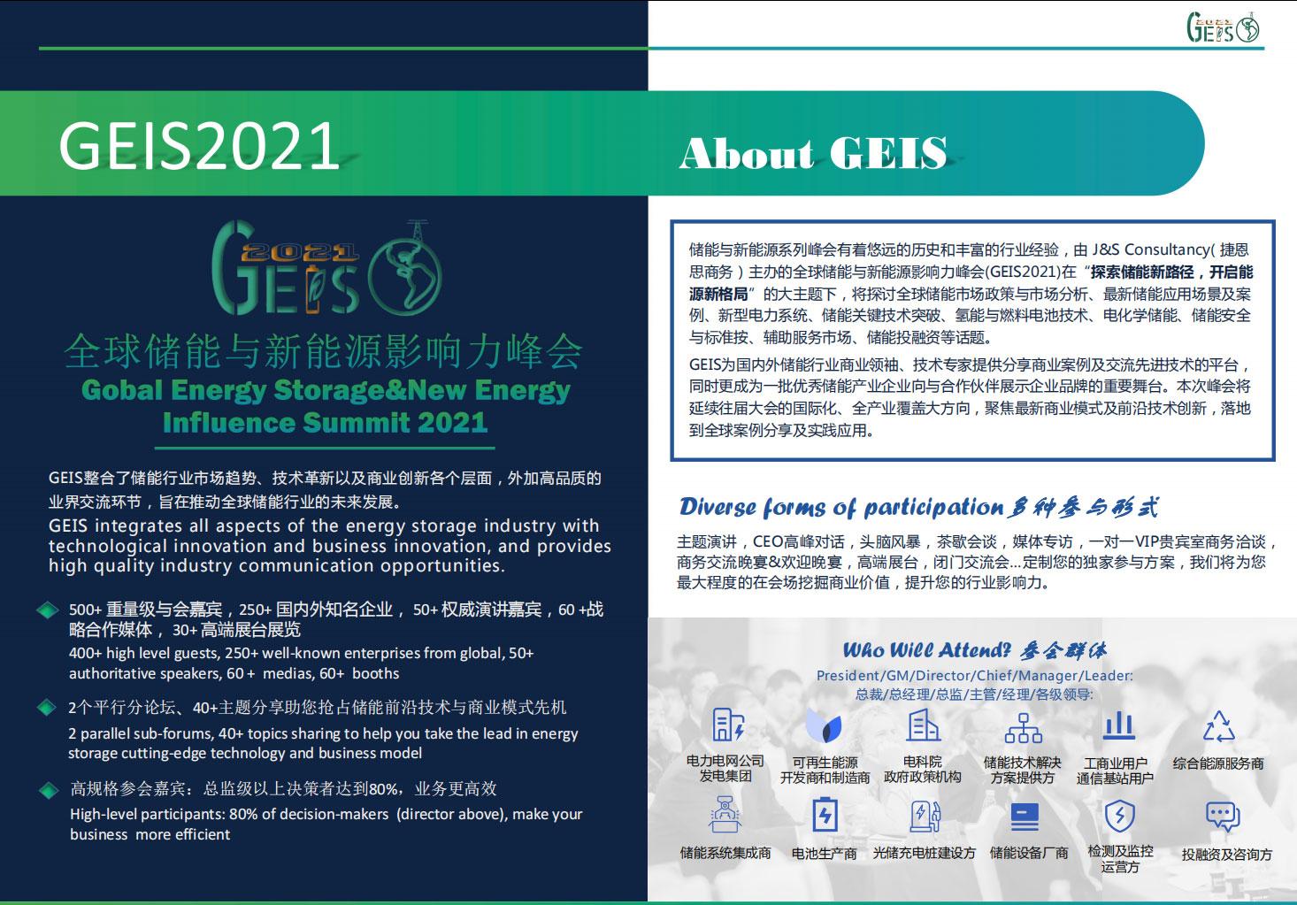 全球储能与新能源影响力峰会2021