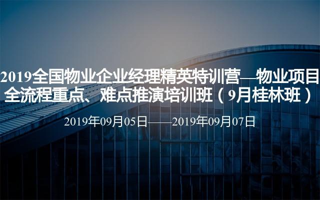 2019全国物业企业经理精英特训营—物业项目全流程重点、难点推演培训班(9月桂林班)