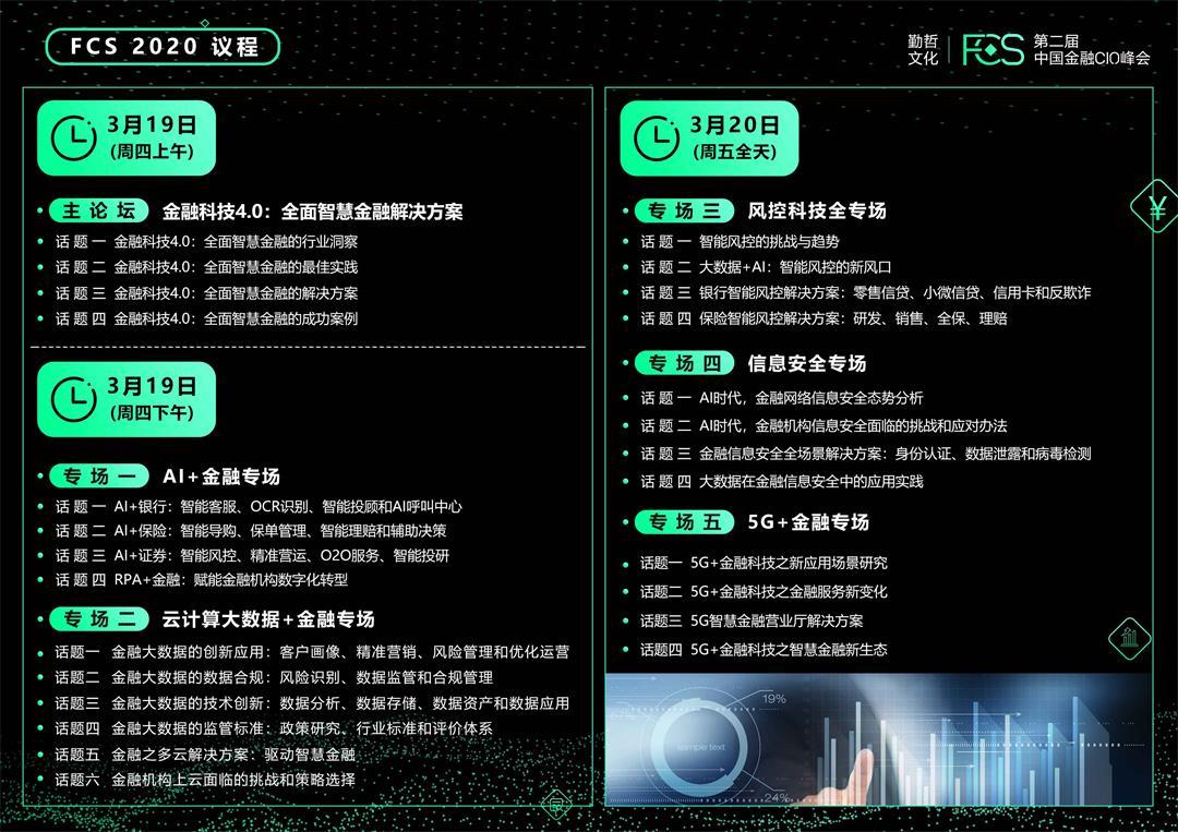 FCS 2020 第二屆中國金融CIO峰會(杭州)