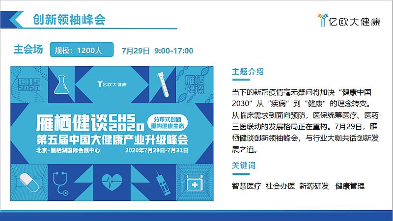 雁栖健谈——CHS 2020第五届中国大健康产业升级峰会