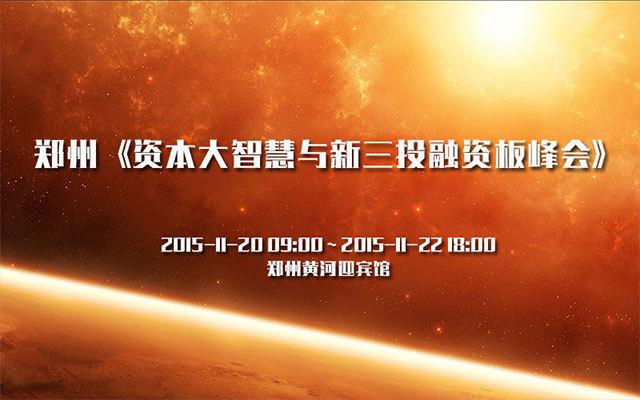 郑州《资本大智慧与新三投融资板峰会》