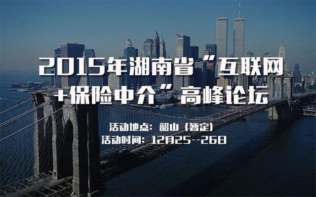 """2015年湖南省""""互联网+保险中介""""高峰论坛"""