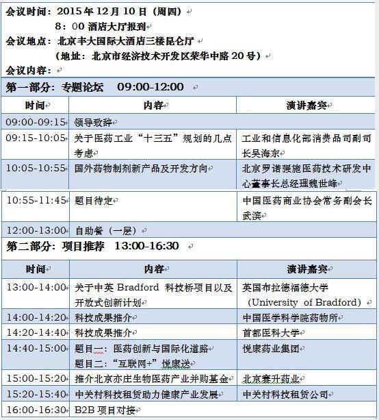 2015年第四届北京医药科技创新大会