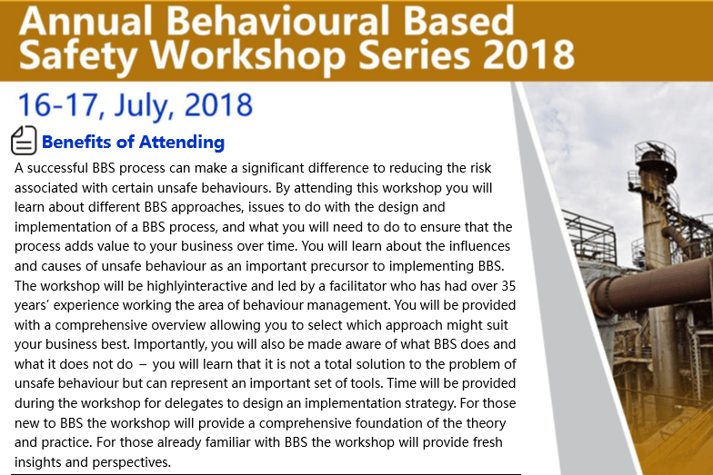 Annual Behavioural Based Safety Workshop Series 2018