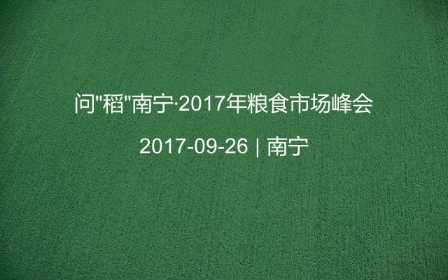 """问""""稻""""南宁·2017年粮食市场峰会"""