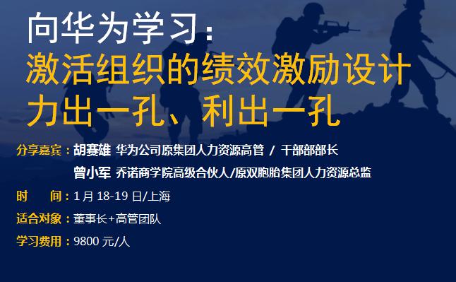 2019向华为学习: 激活组织的绩效激励设计(上海)