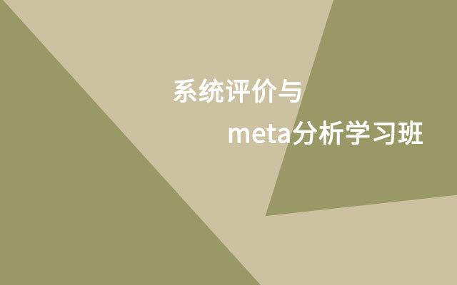 2019系统评价与meta分析学习班(11月上海班)