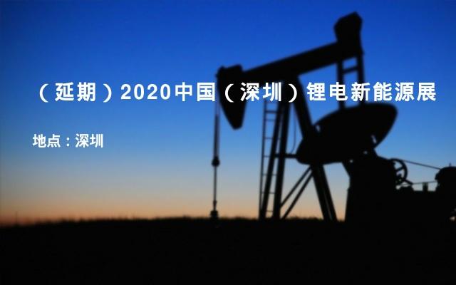 (延期)2020中国(深圳)锂电新能源展