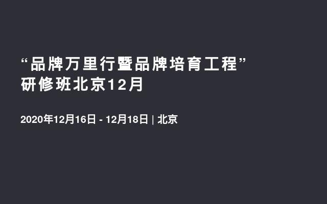 """""""品牌万里行暨品牌培育工程""""研修班北京12月"""