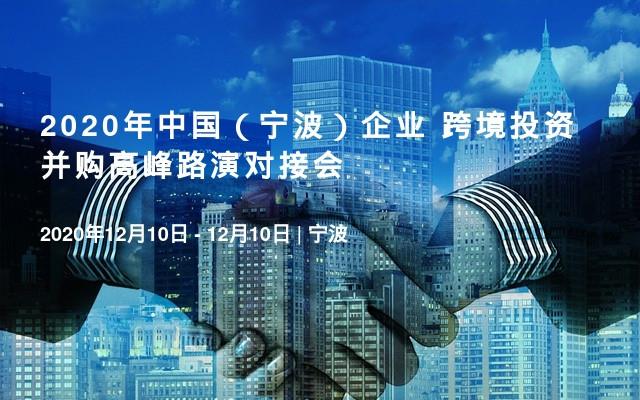 2020年中国(宁波)企业 跨境投资并购高峰路演对接会
