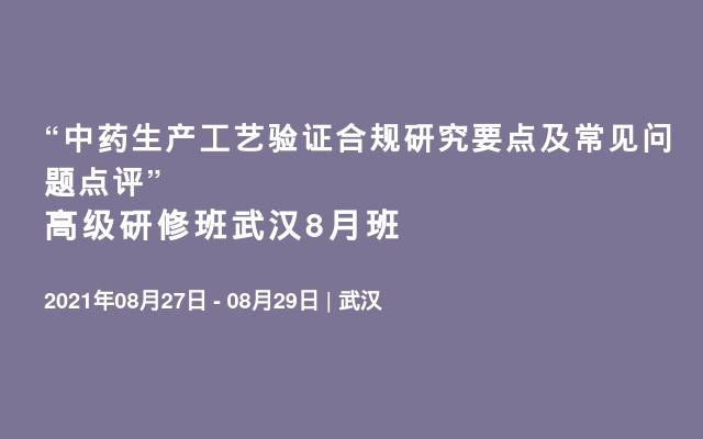 """""""中药生产工艺验证合规研究要点及常见问题点评"""" 高级研修班武汉8月班"""