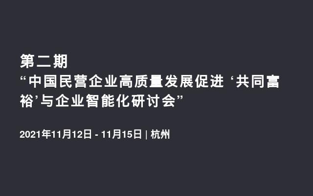 """第二期""""中国民营企业高质量发展促进 '共同富裕'与企业智能化研讨会"""""""