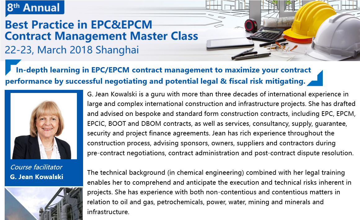 8th Best Practice in EPC & EPCM Contract Management Master Class