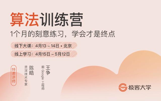 2019算法训练营【陈皓、王争主讲】-北京