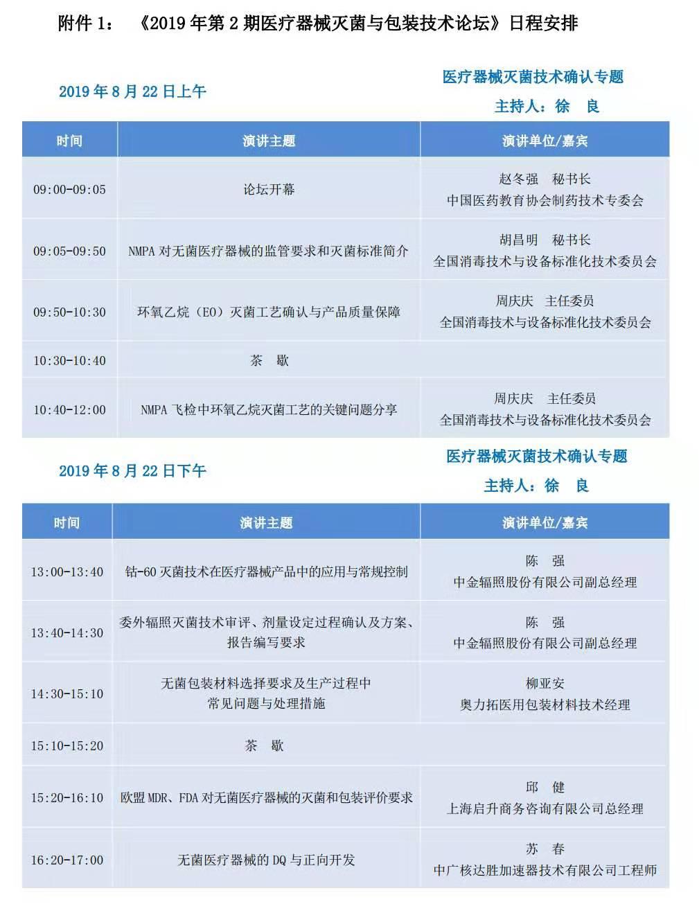 2019年第2期医疗器械灭菌与包装技术论坛(北京)