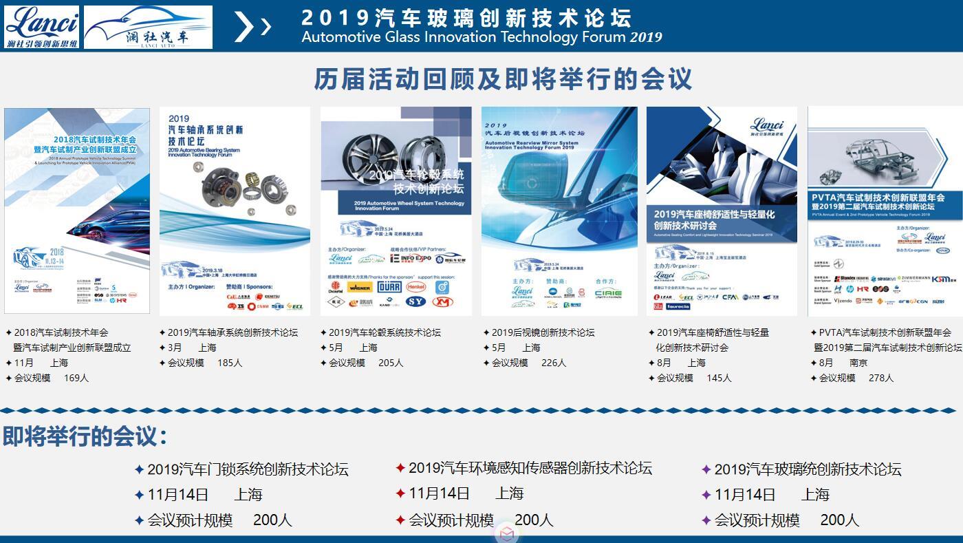 2019年汽車玻璃創新技術論壇(上海)