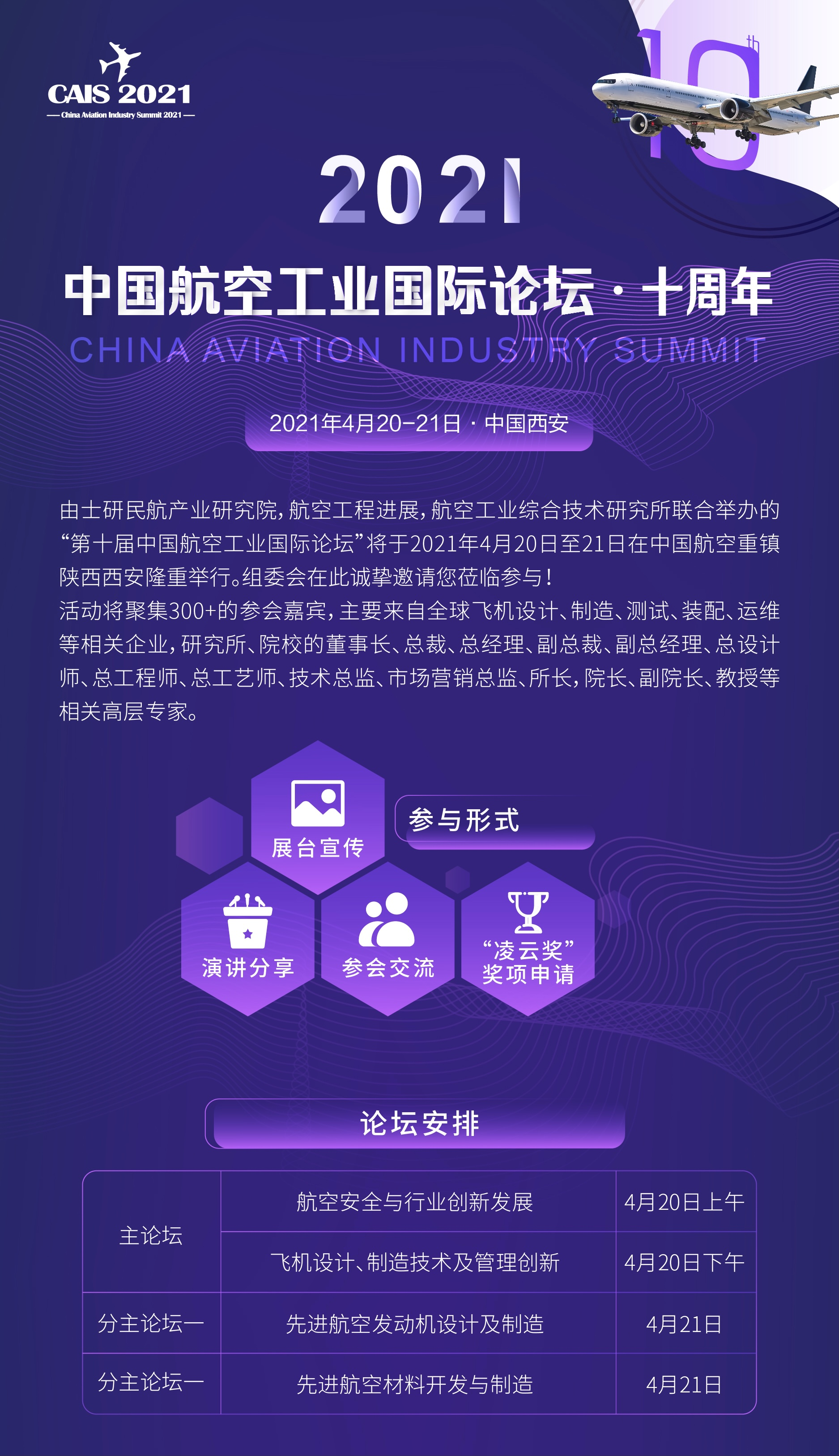第十届中国航空工业国际论坛-- 2021年4月20日-21日