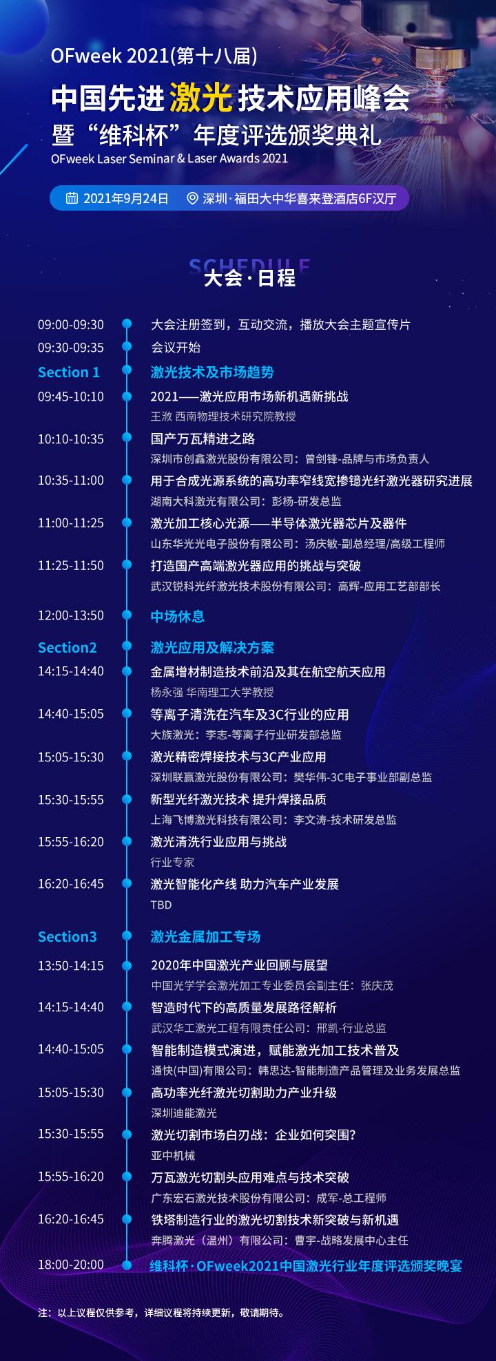 "OFweek 2021(第十八届)先进激光技术应用峰会暨""维科杯""年度评选颁奖典礼"