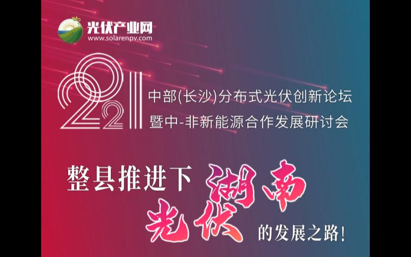 2021 中部(长沙)分布式光伏创新论坛暨中-非新能源合作发展研讨会