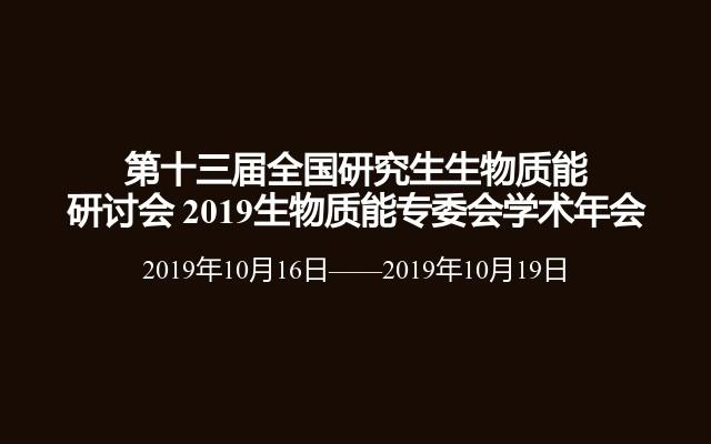 第十三届全国研究生生物质能研讨会 2019生物质能专委会学术年会