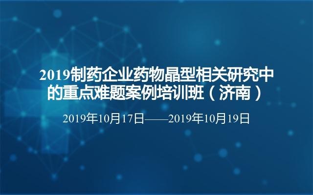 2019制药企业药物晶型相关研究中的重点难题案例培训班(济南)