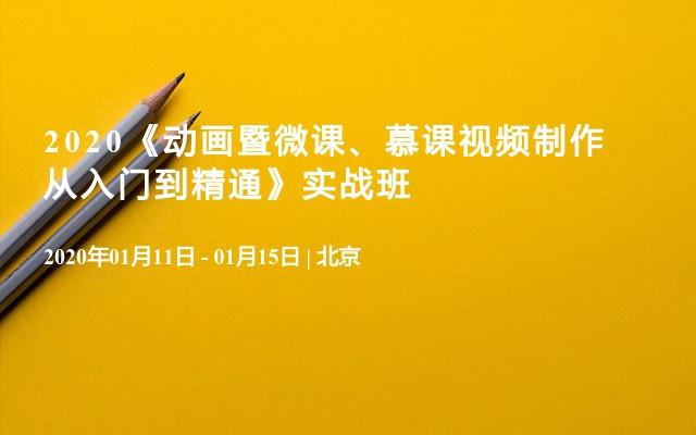 2020《動畫暨微課、慕課視頻制作從入門到精通》實戰班(1月北京)